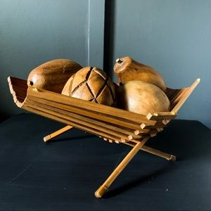 Folding Rattan Bowl with Carved Wooden Fruit